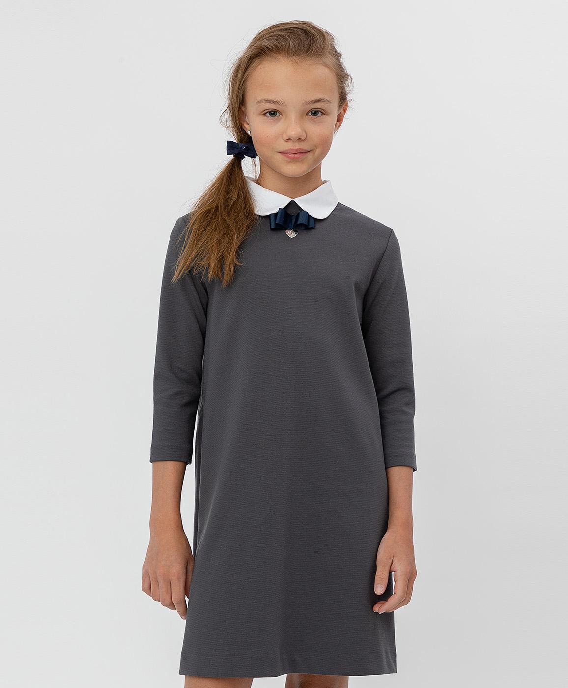Купить 220BBGS50030100, Серое платье с рукавом 3/4 Button Blue, серый, 146, Джерси, Женский, Демисезон, ШКОЛЬНАЯ ФОРМА 2020-2021 (shop: GulliverMarket Gulliver Market)