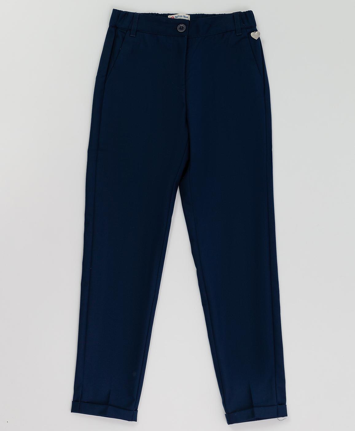 Купить 220BBGS63011000, Синие брюки с манжетом Button Blue, синий, 122, Текстиль, Женский, Демисезон, ШКОЛЬНАЯ ФОРМА 2020-2021 (shop: GulliverMarket Gulliver Market)