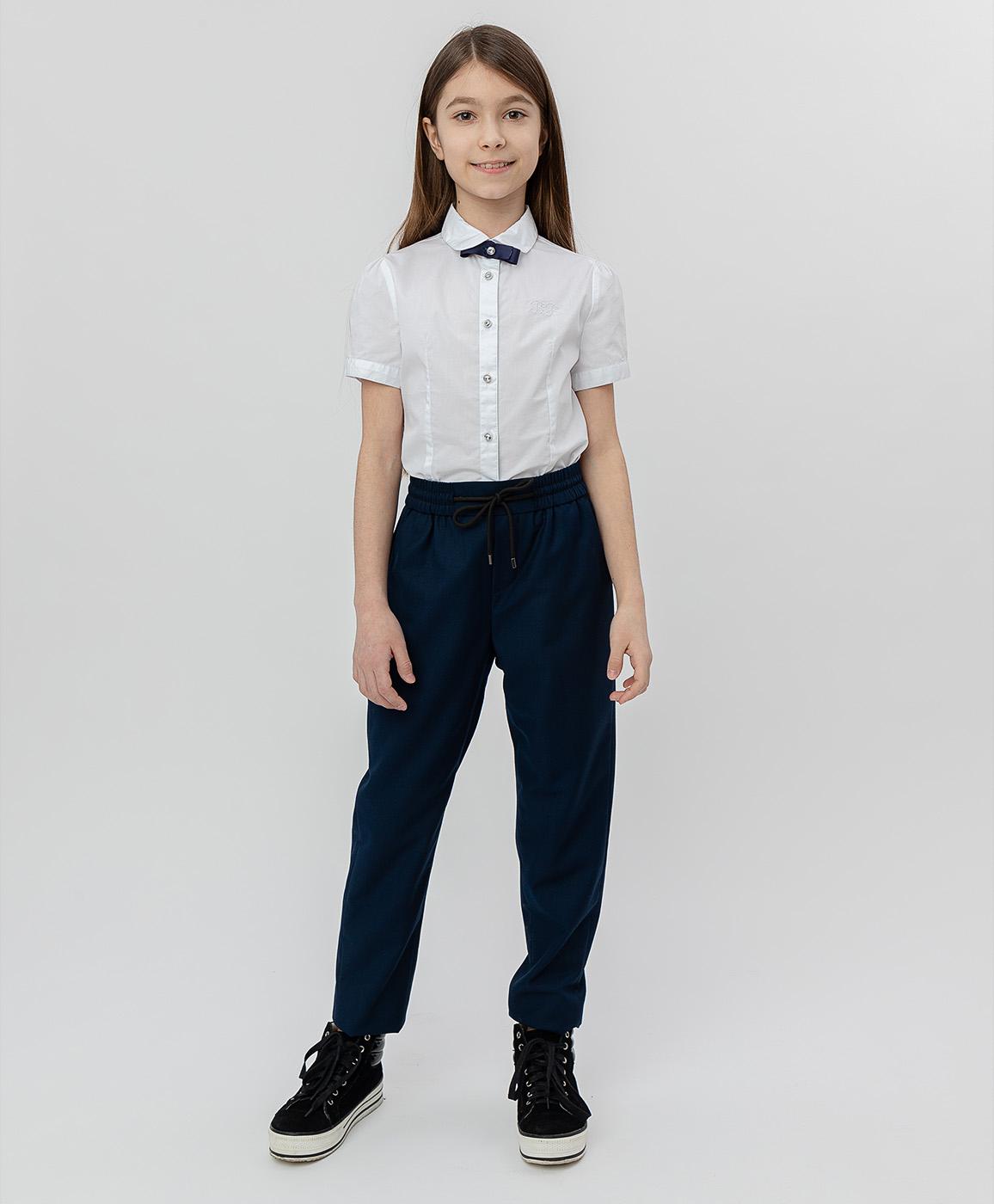 Купить 220BBGS63031000, Синие брюки на шнурке Button Blue, синий, 122, Текстиль, Женский, Демисезон, ШКОЛЬНАЯ ФОРМА 2020-2021 (shop: GulliverMarket Gulliver Market)