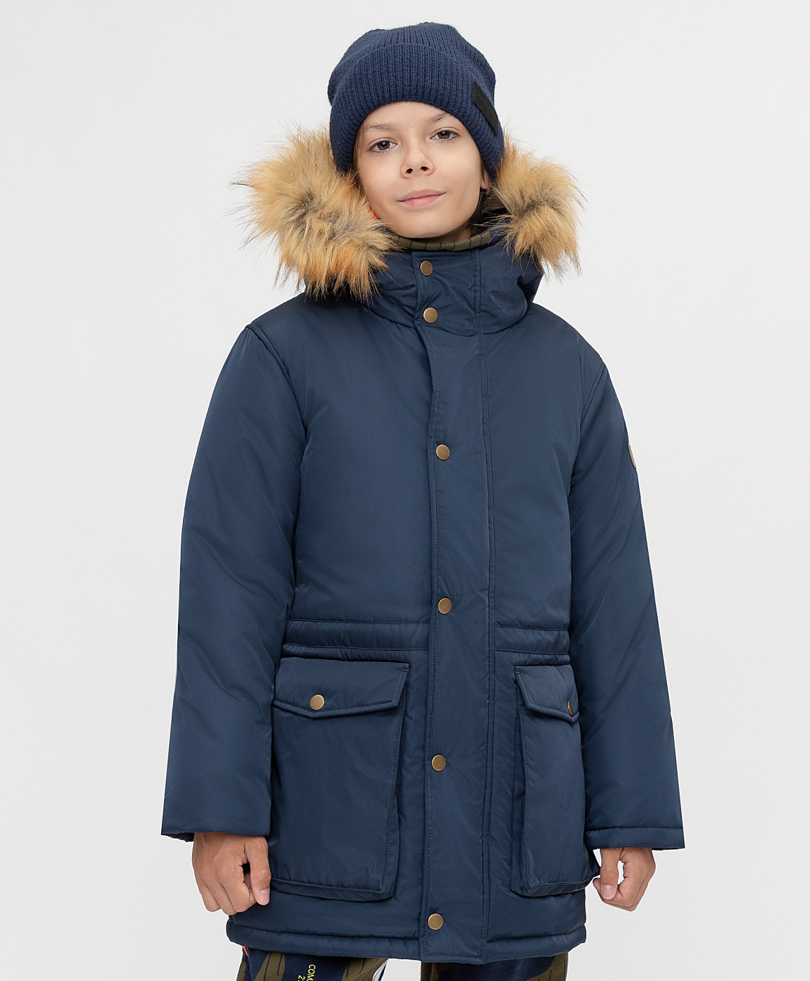 Купить 221BBBJC45021000, Пальто зимнее с капюшоном Button Blue, синий, 140, Полиэстер, Мужской, Зима, ОСЕНЬ/ЗИМА 2021-2022 (shop: GulliverMarket Gulliver Market)