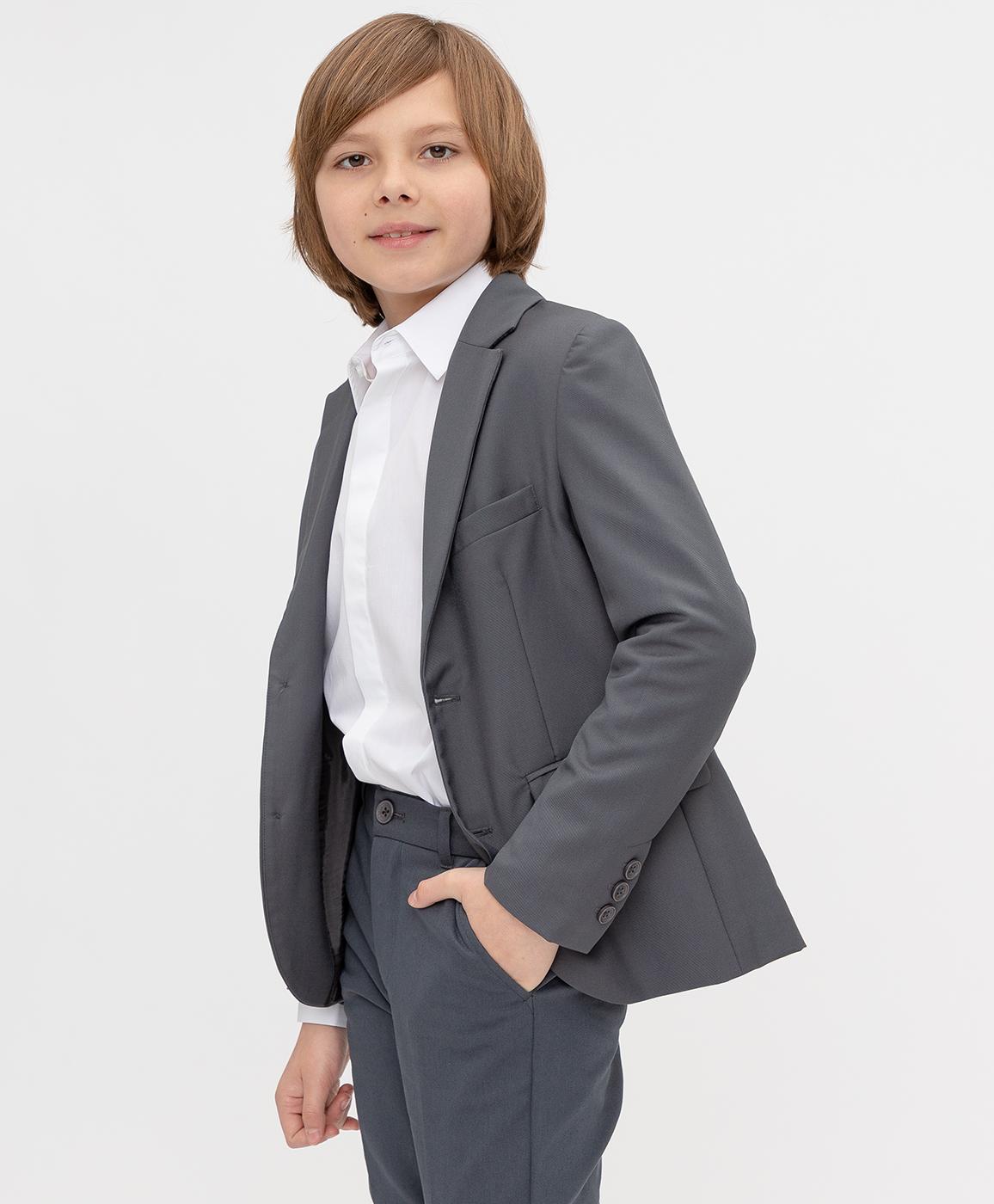 Купить 221BBBS48010100, Пиджак серый двубортный Button Blue, 134, Полиэстер, Мужской, ШКОЛЬНАЯ ФОРМА 2021-2022 (shop: GulliverMarket Gulliver Market)