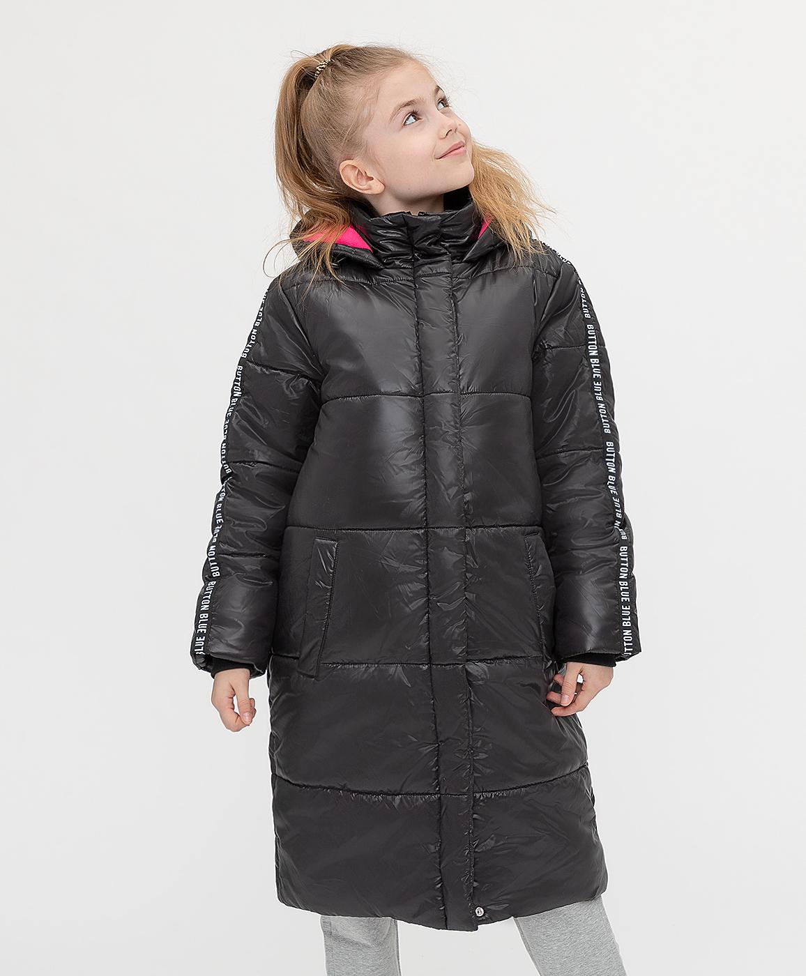 Купить 221BBGJC45020800, Пальто зимнее с капюшоном черное Button Blue, черный, 140, Полиэстер, Женский, Зима, ОСЕНЬ/ЗИМА 2021-2022 (shop: GulliverMarket Gulliver Market)