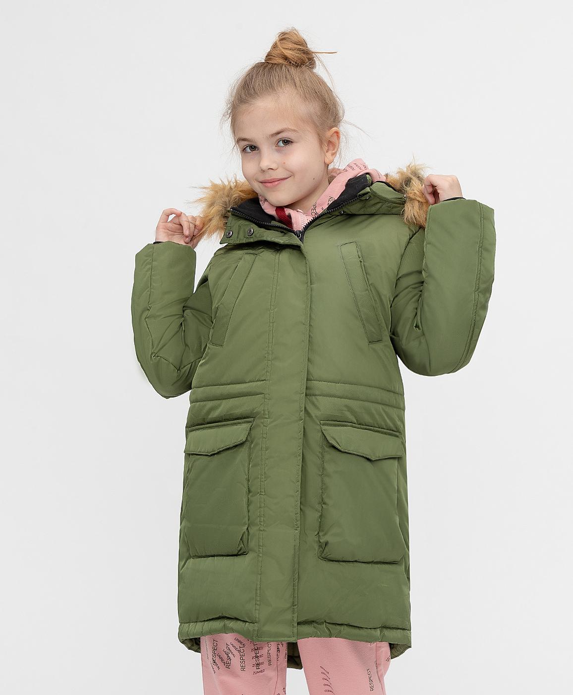 Купить 221BBGJC45034400, Пальто зимнее с капюшоном Button Blue, хаки, 140, Хлопок, Женский, Зима, ОСЕНЬ/ЗИМА 2021-2022 (shop: GulliverMarket Gulliver Market)