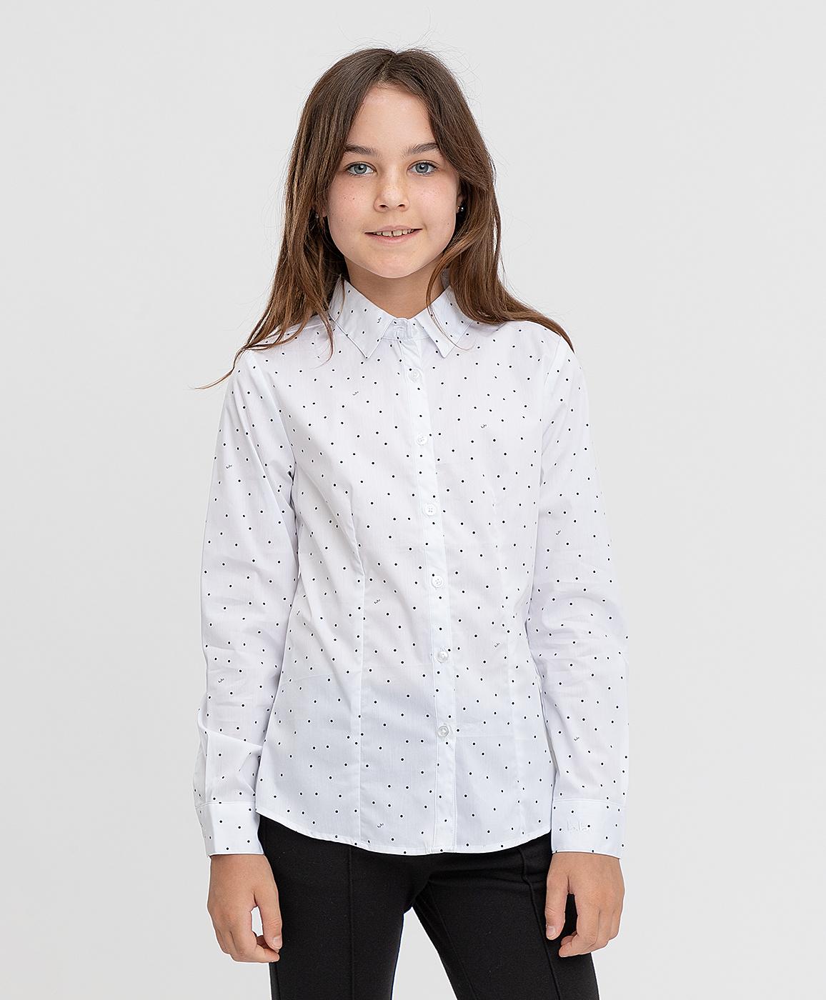 Купить 221BBGS22050204, Блузка белая с рисунком Button Blue, 122, Хлопок, Женский, ШКОЛЬНАЯ ФОРМА 2021-2022 (shop: GulliverMarket Gulliver Market)