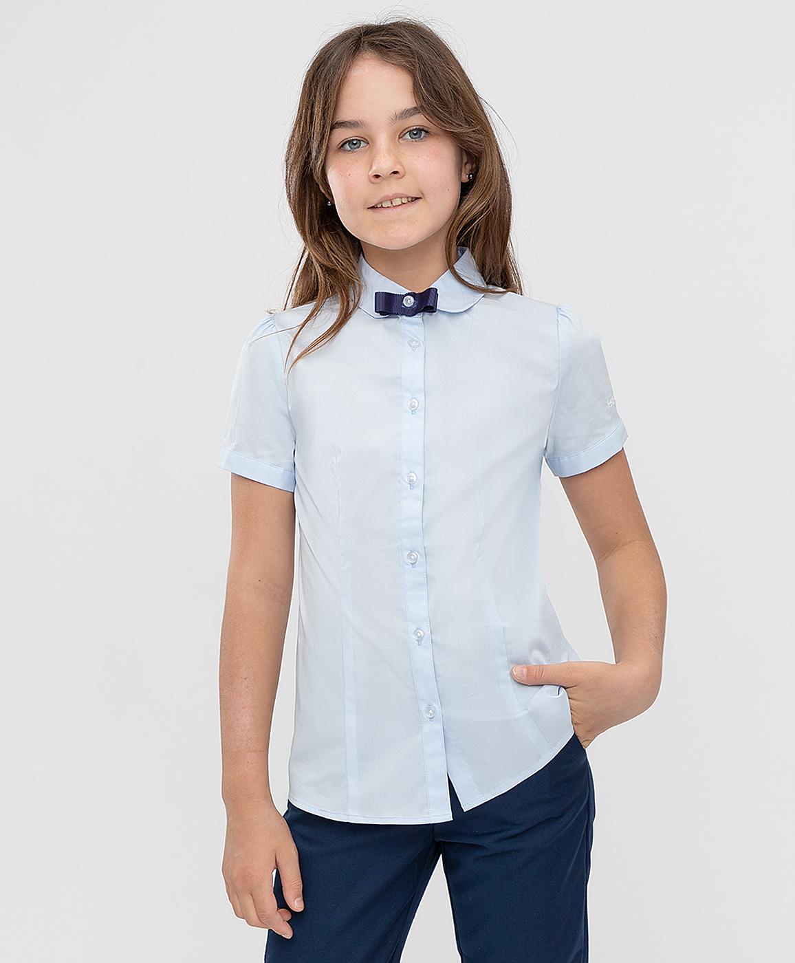 Купить 221BBGS22061800, Блузка голубая с коротким рукавом Button Blue, 170, Хлопок, Женский, ШКОЛЬНАЯ ФОРМА 2021-2022 (shop: GulliverMarket Gulliver Market)