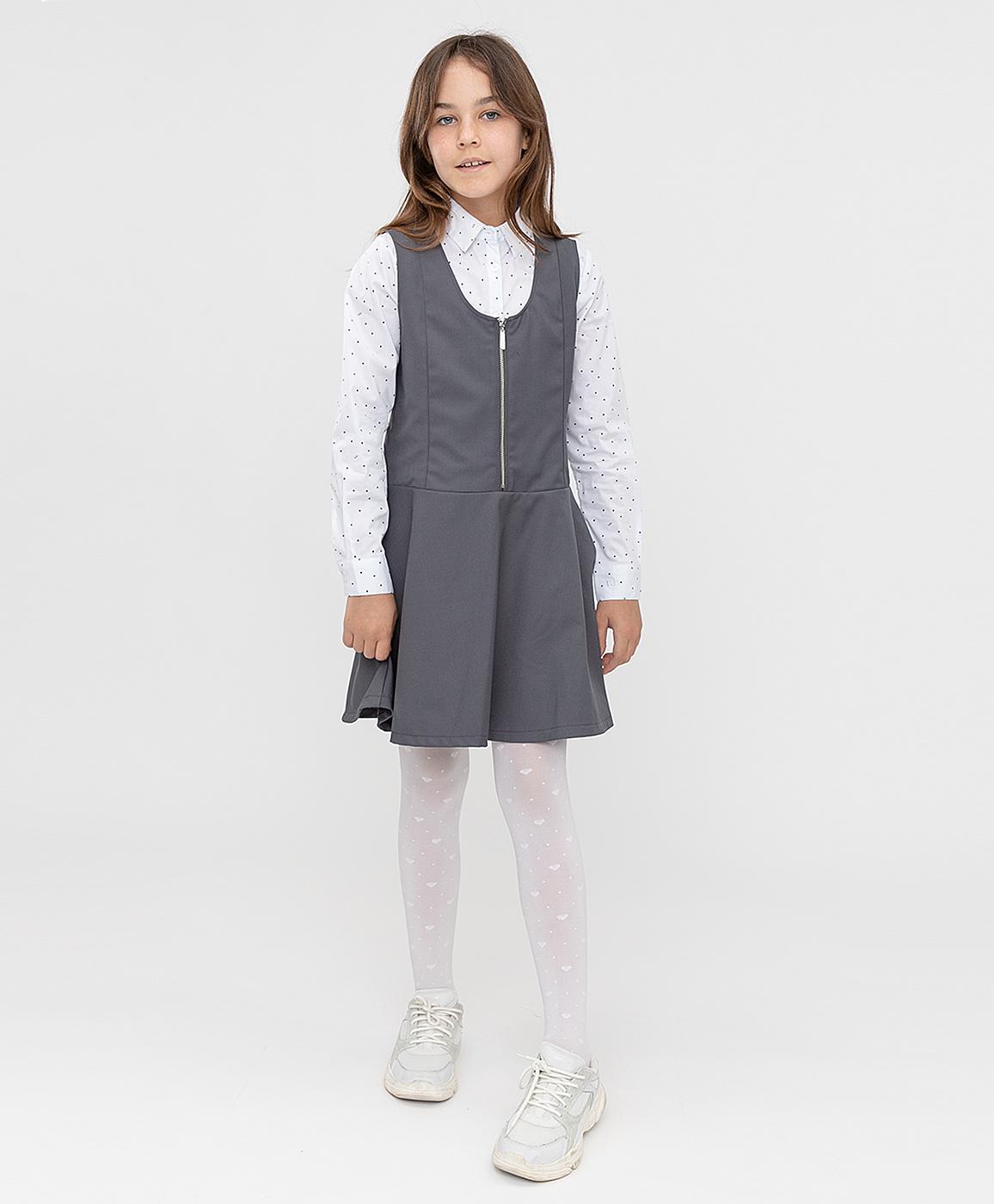 Купить 221BBGS25010100, Сарафан серый Button Blue, 146, Полиэстер, Женский, ШКОЛЬНАЯ ФОРМА 2021-2022 (shop: GulliverMarket Gulliver Market)